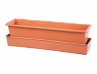 Self-watering box LEBIŠ with wicks plastic terracotta 50cm - VÝPREDAJ