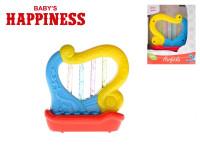 Harfička plast 11cm na baterie se zvukem a světlem Baby´s Happiness 18m+