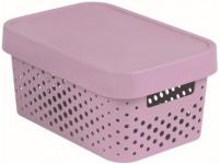 box úložný INFINITY dierovaný 26,8x18,6x12,4cm s vekom, plastový, Ruz