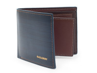 Elegantná tenká pánska peňaženka s kresbou dreva, eko kože, modrá
