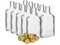 fľaša ploskačka 200ml sklenená s uzáverom (10ks)
