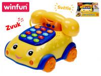 Telefonek 16 cm naučný žlto-modrý 2 funkcie na batérie so svetlom a zvukom
