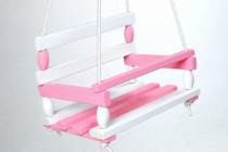 Houpačka dřevo bílo růžová 38x30cm nosnost 80kg