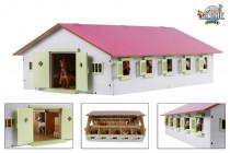 Stajňa pre kone drevená 1:32 ružová