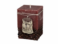 Svíčka COFFEE BAG HRANOL rustikální 7x7x10cm