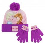 Sada rukavice, čiapka s brmbolcom - Ľadové kráľovstvo ružová