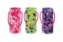Korálky plast so šnúrkou v plastovej dóze 4,5x11cm - mix farieb
