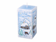 Sviečka ZIMA HRANOL vianočné 7x7x14cm