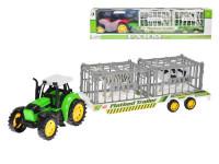 Traktor s vlečkou 50 cm na zotrvačník so zvieratkami v klietke 2 ks - mix farieb
