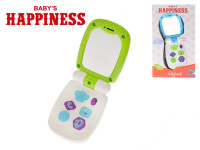 Telefón 17x6,5 cm so zrkadielkom na batérie so svetlom a zvukom Baby's Happiness - mix farieb