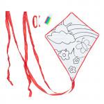 Lietajúci drak Color & Fly, drak a fixky na vyfarbenie, červený, Cuculi
