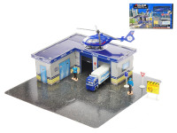 Policajná puzzle stanica 38 ks - vozidlá 2 ks kov 11-17 cm voľný chod s doplnkami