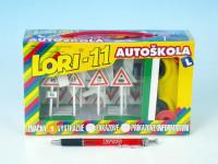 Stavebnica LORI 11 Autoškola Dopravné značky 16ks + 2 kužele + auto plast