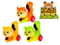Veverička 10 cm na zotrvačník pohybujúce sa hlava - mix farieb