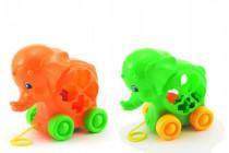 Vkládačka slon tahací plast 19cm - mix barev