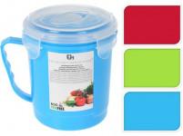 hrnček 0,6l s vekom plastový - mix farieb