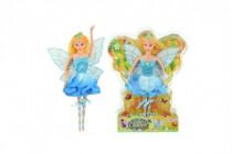 Bábika víla s krídlami modré šaty plast 30cm v blistri
