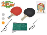 Sada na stolný tenis 2-Play pálky drevené 25 cm 2 ks + loptičky 3 ks so sieťkou