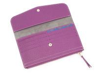 Moderná dámska peňaženka s vreckom na drobné, eko kože, fialová
