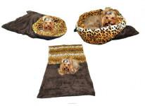 Spací pytel 3v1 pes,kočka č.42 tm. šedá/leopard