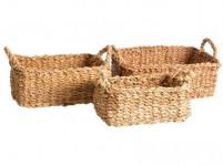 košík hranatý s úchytmi strednej 32x23x13cm morská tráva