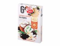Sviečka čajová KOKOSOVÝ ORECH s vanilkou vonná 6ks