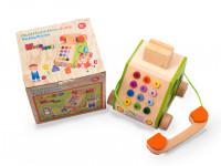Veselý telefón - drevená montessori hračka