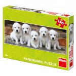 Puzzle päť šteniatok panoramic 66x23cm 150 dielikov