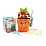 Vypestujte si jahôdky - detská sada pre pestovanie jahôd sa samozavlažovacím kvetináčom a výučbou angličtiny, oranžová, Cuculi