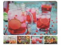 prostírání plastové, DRINK 43,5x28,5cm 4 dekory - mix variant či barev - VÝPREDAJ