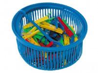 štipce na bielizeň plastové (50ks) v guľatom košíčku plastovej - mix farieb