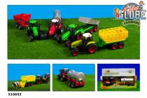 Traktor kov na zotrvačník s vlečkou na batérie so svetlom a zvukom - mix variantov či farieb