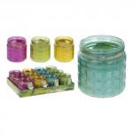svíčka CITRONELA 11,5x12cm 230g (hoří 28hod) sklo - mix barev