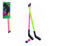 Hokejka pozemné plast 78cm 2ks + florbalový loptička + puk