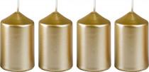 Sviečka adventné 40x60 mm - metalická biele zlato - 4 ks
