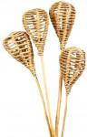 Dekorace - Lata bulb na tyčce - přírodní 2 ks