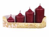 Svíčky adventní STUPŇOVITÉ PEGAS d4,5x5,7,9,11cm 4ks