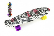 Skateboard - pennyboard 60cm nosnosť 90kg čierno-červený, čierne osi kov, kolesá - mix farieb