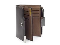 Moderná pánska peňaženka s vreckom na drobné, eko kože, hnedá