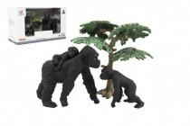 Zvieratká safari ZOO 8cm sada plast 3ks gorila 2 druhy