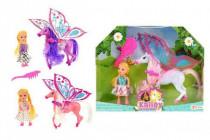 Kôň 27cm s krídlami a hrebeňom česacia + bábika 15cm plast - mix farieb