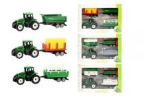 Traktor mini 7cm s přívěsem 3ks plast - mix variant či barev