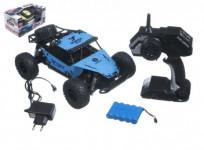 Auto RC buggy velká kola plast 27cm 24MHz na baterie + dobíjecí pack v krabici 38x20x23 - mix barev