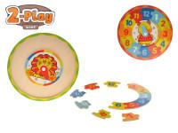 Hodiny drevené puzzle 2-Play 25x25x1,5 cm - mix variantov či farieb