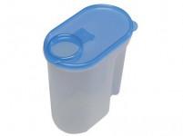 dóza UNI na sypké potraviny 2l ovál plastová, otváracia viečko - mix farieb