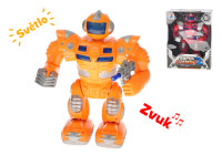 Robot bojovník plast 25cm na batérie chodiace so svetlom a zvukom - mix farieb