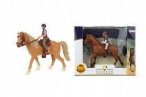 Kůň + žokej plast 13cm - mix barev