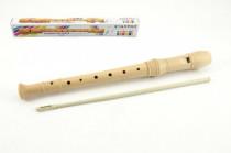 Flauta prírodné drevo 31cm s čistidlom