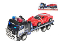 Policajný kamión prepravné 39 cm na zotrvačník s autom 21 cm na zotrvačník