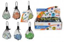 Sklenené guličky v sieťke - mix variantov či farieb